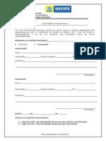 Formulario Autorizacao Pessoa Fisica Pfm
