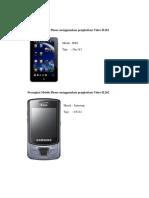 Perangkat Mobile Phone Menggunakan Pengkodean Video H