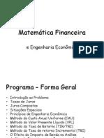 MatFin_Aula_01 - Matemática Financeira e Engenharia Economica