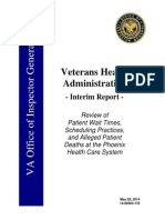 US Veterans Health Administration Interim Report on Patient Wait Times (2014)