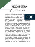 2007-04-18 Presentación Situación de Aislamiento Voluntario