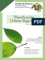 Analisis de La Legislación Sobre Planificación Urbana Territorial en El Peru