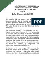 2007-08-06 Discurso en La Décima Conferencia Regional Sobre La Mujer de América Latina y El Caribe