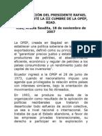 2007-11-17 Discurso Ante III Cumbre de La OPEP