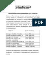 Cronograma de Responsabilidades Del II Bimestre