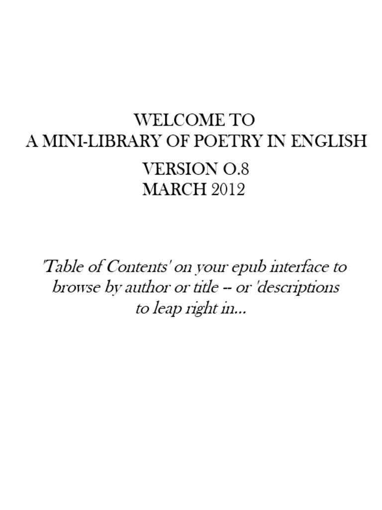 A mini library of poetry in english v08 complete catalogue poetry a mini library of poetry in english v08 complete catalogue poetry poets fandeluxe Gallery