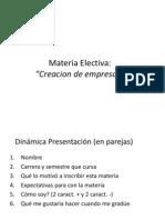 Láminas Materia Creacion de Empresas Primera Clase