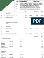 Tarjeta de Precio Unitario LOSA de CONCRETO