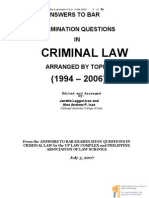 Answers to Bar Examination Questions in Criminal Law