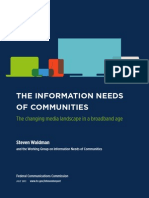 LOW the Information Needs of Communities