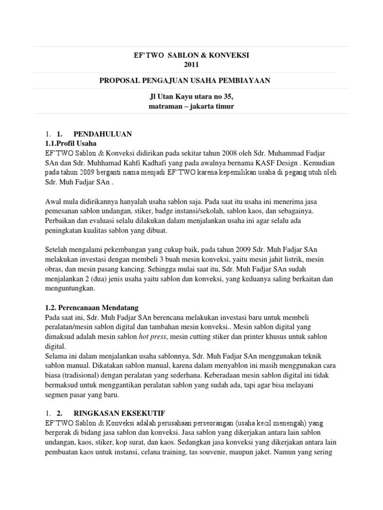 Proposal Sablon Kaos
