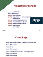 Entrepreneurship Report Guideline