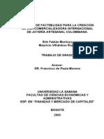Estudio de Factibilidad Para La Creacion de Una Comercializadora Internacional de Joyeria Artesanal Colombiana-2005