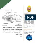 Ensayo Comparativa Planes de Ordenamiento Territorial Sinuapa, Honduras