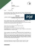 Odluka o početku i završetku nastavne godine 2014/2015