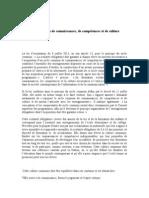 Le Projet de Socle Commun de Connaissances, De Compétences Et de Culture Imaginé Par Le CSP