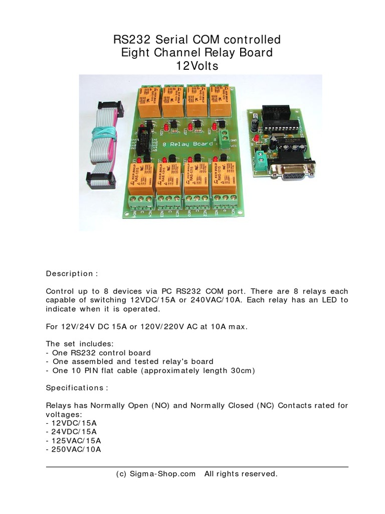 Kmtronic 8 Relay Rs232 Manual Switch 12vdc Normally Open