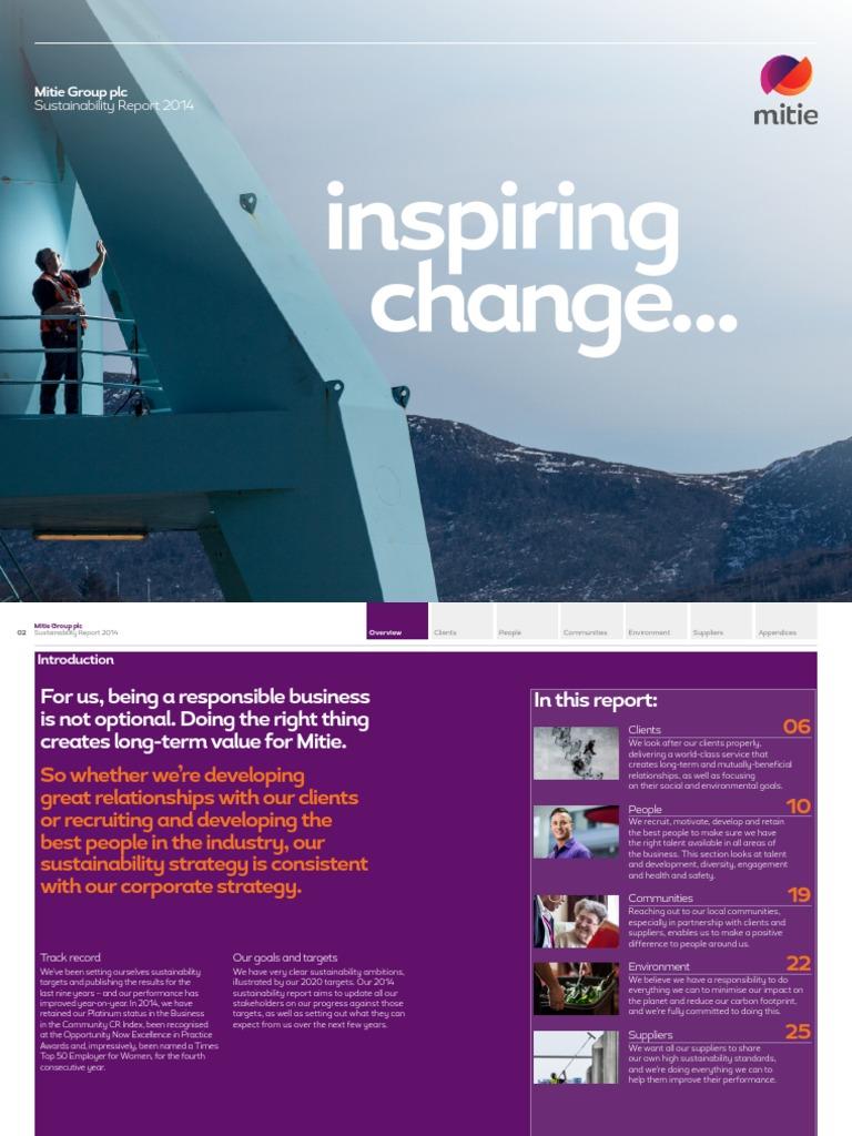 Inspiring change   Mitie Group plc Sustainability Report