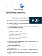 Lista de Exercícios de Energias Cinética e Potencial