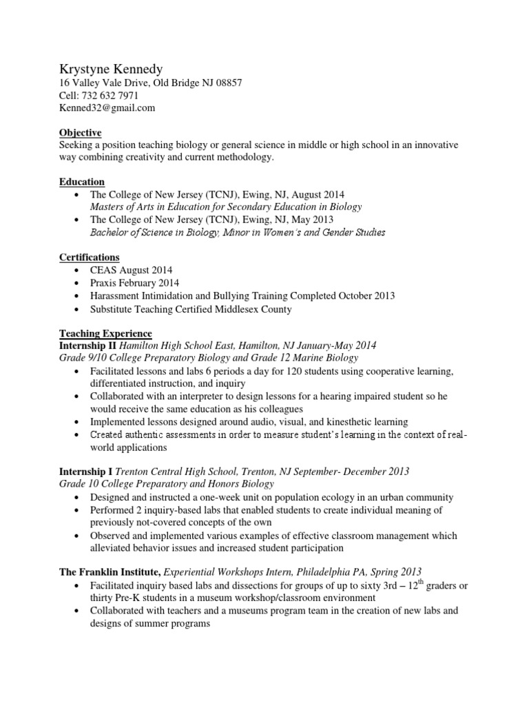 Education Resume Inquiry Based Learning Applied Psychology