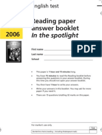 YR9 SATs - Reading Answer Book 2006