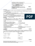 Subiect Si Barem de Evaluare Si Notare Chimie Organica_filiera Teoretica Si Vocationala_bac2013