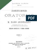 Quintiliano - Instituciones Oratorias 1