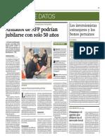 Afiliados AFP Podrían Jubilarse Con Solo 50 Años_Gestión 10-05-2014