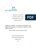 """Tesis:"""" Significados atribuidos a la experiencia de participar en las organizaciones culturales de la comuna de Valparaíso; Capital Cultural de Chile"""""""