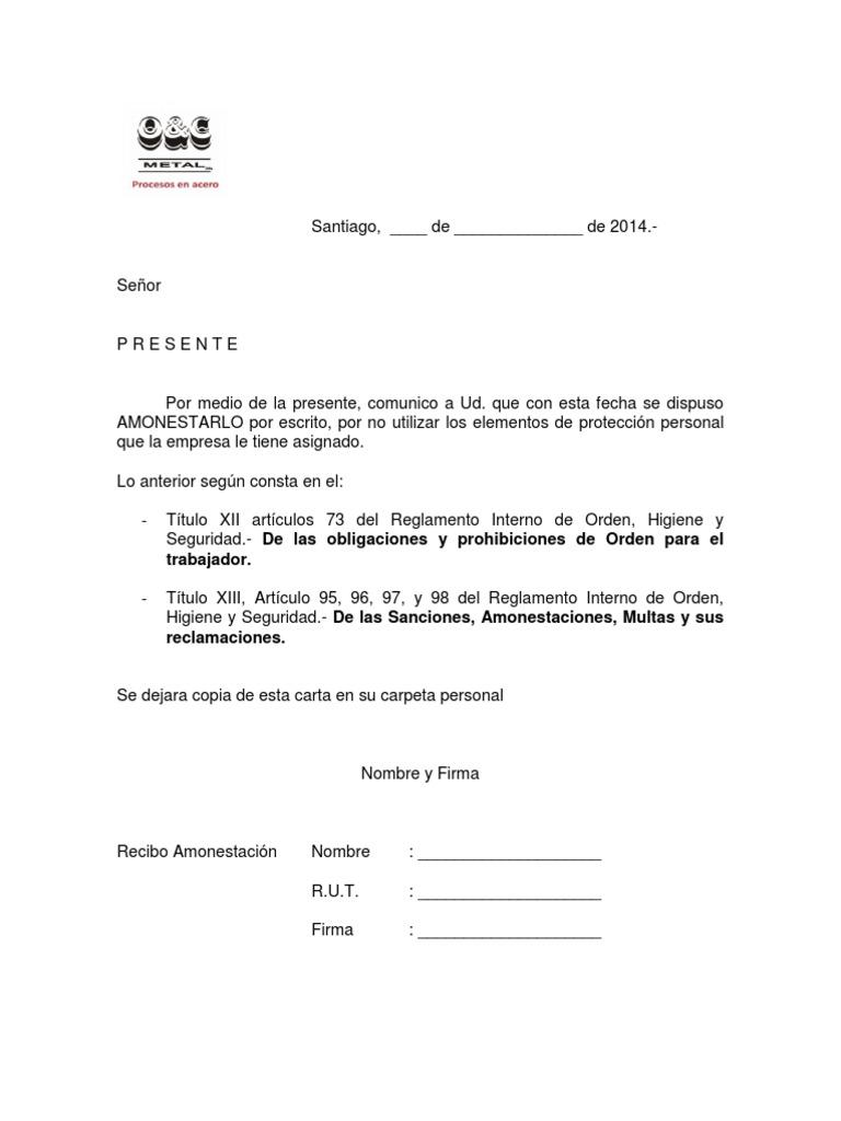 Carta de Amonestacion Por No Uso de EPP