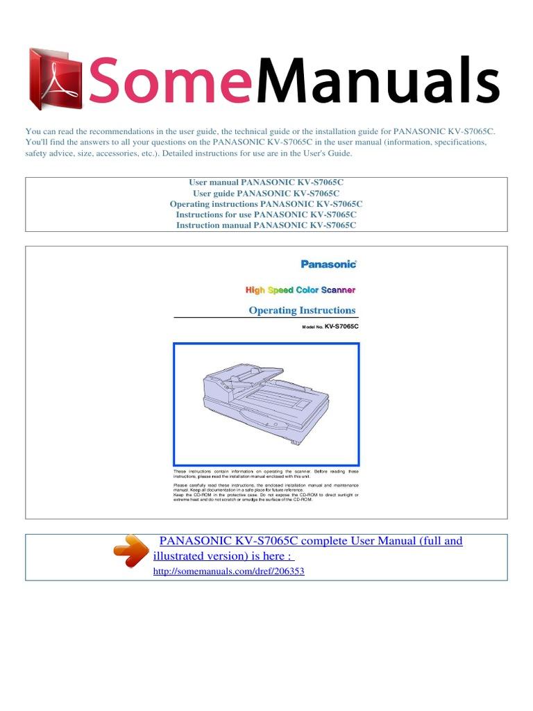 User Manual Panasonic Kv s7065c e | Image Scanner | Ac Power Plugs