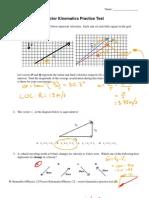 Physics 12 - Vector Kinematics Practice Test Key