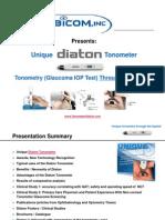 Unique Diaton Tonometer Glaucoma Eye Test THROUGH Eyelid by BiCOM Inc Presentation Tonometry IOP Test