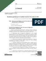 68-4. Declaración Del Diálogo de Alto Nivel Sobre La Migración
