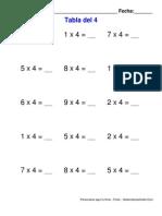 Tabla Multiplicar 4