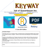 The Keyway - 11 June 2014 Edition - weekly newsletter for the Rotary Club of Queanbeyan