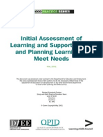 Initial Assessment of Learning and Support Needs and Planning Learning to Meet Needs