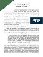 Derrida - Des Tours de Babel (Fr)