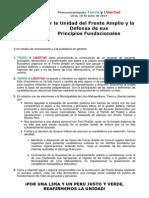 """Pronunciamiento TIERRA Y LIBERTAD """"Por La Unidad Del Frente Amplio y La Defensa de Sus Principios Fundacionales"""""""