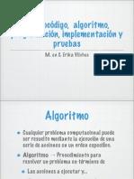 1.1 Pseudocodigo, Algoritmo, Programacion, Implementacion y Pruebas