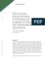 Políticas Educativas e Modos de Subjectivação Da Profissão Docente