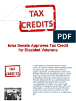 Iowa Senate Approves Tax Credit for Disabled Veterans