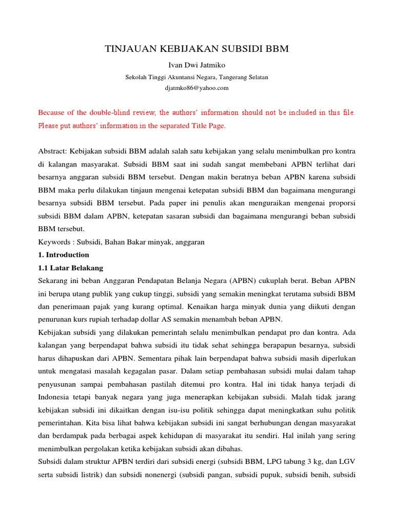 essay pembatasan bbm bersubsidi