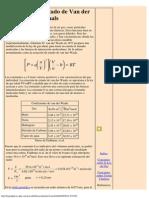 Van Der Waals Equation of State