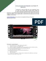 Lecteur DVD Voiture Pour Chevrolet Uplander Avec Radio TV Bluetooth