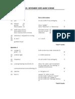 260581 IGCSE Physics 4420 Mark Scheme Nov 05 P1F FINAL