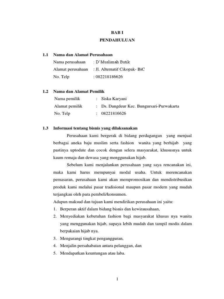 Contoh Proposal Usaha Butik Jilbab Gambaran