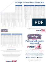 Wightlink Isle of Wight Festival Ferry timetable