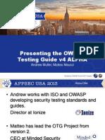 APPSEC2013 OWASP Testing Guide v4 Alpha