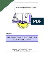 Aprendizaje y Estudio en La Universidad-2003
